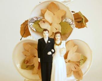 Wedding Cake Topper, Vintage Bride Groom, Plastic Wedding Bells, Good Luck Horseshoe