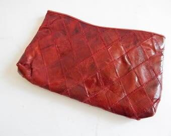 """13"""" Long Patchwork Snakeskin or Lizardskin Clutch Vintage 1950s-60s"""