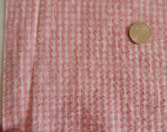 "Pink & White Check Vintage Cotton Seersucker/Plisse  Lightweight Cotton Fabric By the Yard  45"" Wide"