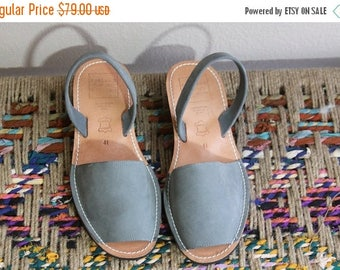 SALE grey leather sling back flats- made in spain- size fits like 8.5