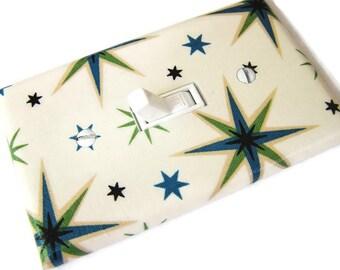 RETRO STARBURSTS Light Switch Cover Plate Switchplate Retro Decor Mid Century Modern Decor Star Decor