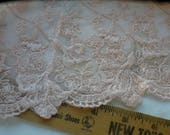 """Dusty Pink Embroidered applique on wide Net Lace Trim 7.5"""" wide Shirt skirt extender edging retro yardage peekaboo slip lace tulle yards"""
