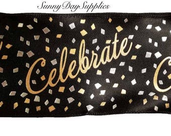 Wired Celebrate Ribbon, Gold and Silver Metallic Foil, New Year, Gold and Silver Anniversary, Birthday, 2.5 in. wide, 2 YARDS, Made in USA