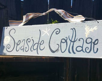 Seaside cottage,rustic summer decor,hand painted sign,beach decor,wood sign,shabby chic decor,cottage garden,primitive sign,summertime,beach