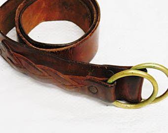 Vintage Distressed Brown  Leather leather Belt   #013