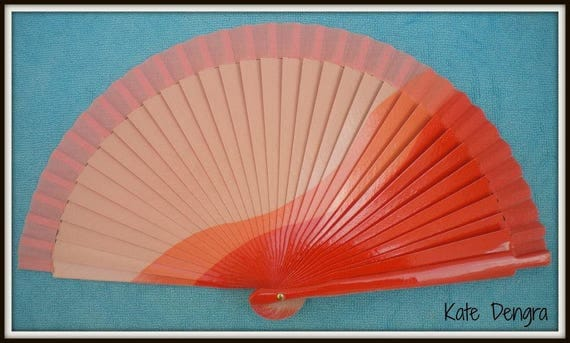 Three Tone Orange Design Spanish Hand Fan Limited Edition