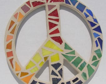 Peace Sign Wall Art peace sign wall art mosaic peace sign blue beach glass coastal