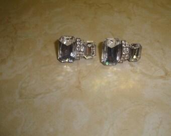 vintage clip on earrings silvertone beveled glass rhinestones