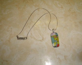 vintage necklace silvertone colorful patches under glass