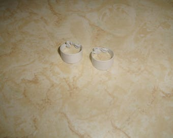 vintage clip on earrings white enamel hoops