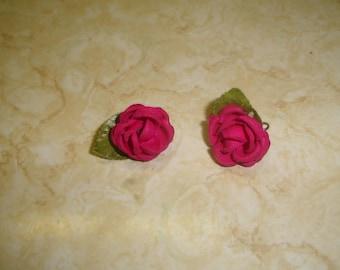 vintage screw back earrings fabric rose flowers