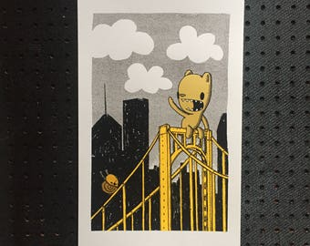 bridge buddies screen print, bridge print, pittsburgh print, kid's room art, nursery print