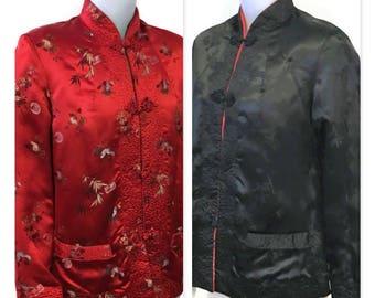 1960s Red Jacket, Asian Jacket, Mandarin Collar, 1960s Black Jacket, Frog Closure, Reversible Jacket, Peony Brand, Short Chinese Jacket