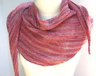 Asymmetrical scarf wool pink multi