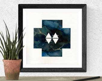 Original Watercolor Blue Stone Cross Geometric Elemental Elements Glyph Space Stone Painting Galaxy Art OOAK