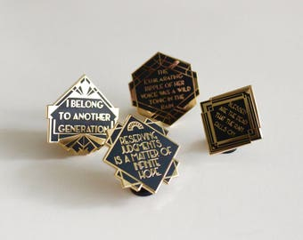 4 Pack Pins Set The Great Gatsby F Scott Fitzgerald Black Gold hard enamel pin, book lover, literary gifts