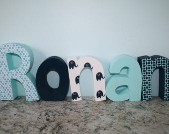Wooden letters, Nursery name letters, Nursery name sign, Baby letters, Elephant decor, Elephant nursery, Wooden elephant, Boy nursery decor