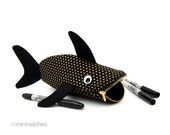 Animal Bag for Kids Toy Storage. Baby Shark Crayon Pouch. Black & Gold. Cute Birthday Party Gift for Toddlers. Baby Bling.