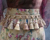 Gold Tassel Belt, beige tassel belt, tassel belt, beaded belt, Boho belt, ethically made, handmade in Ireland,