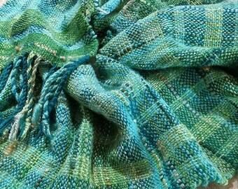 Handwoven Handspun Scarf~ Tidal Froth