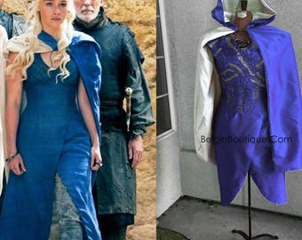 Pageant Halloween Khaleesi Game of Thrones Cosplay Daenerys Blue Dress season #3 Top of line custom size 0 up to 12