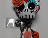Sugar Skull Badge Reel swivel alligator badge reel clip retractable