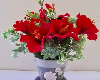 Silk Flower Arrangement, Red Floral Arrangement, Hibiscus Arrangement, Red Hibiscus Floral Arrangement, Succulent Arrangment