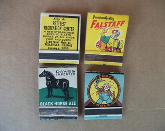 Vintage 1940's  Beer & Tarern Matchbook's, Falstaff Beer, Black Horse Ale, Stern Beer