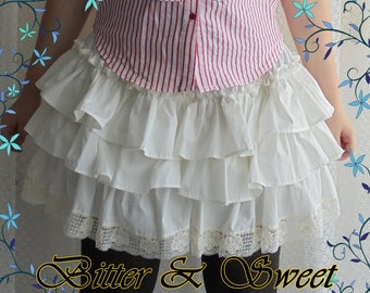 Mini bloomers with long frills and lace Steampunk-Gothic-Lolita-Cabaret-Can Can-Victorian-Burlesque-Cow Girls-Wester-Ranchers-Pirate-Circus