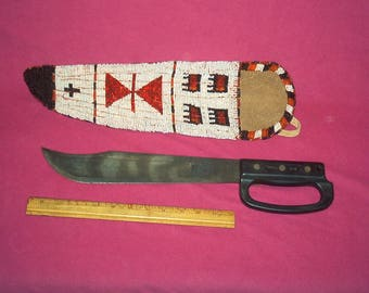Blackie Collins Ontario US Knife Co With Indian Style Scabbard