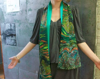 Green Horse scarf -  Horse Rises From the Earth    -    Silky faille scarf -    from original batik -