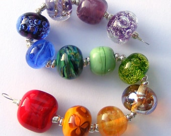 handmade lampwork glass bead set of 12 renegade beads lampwork orphan beads in rainbow colours