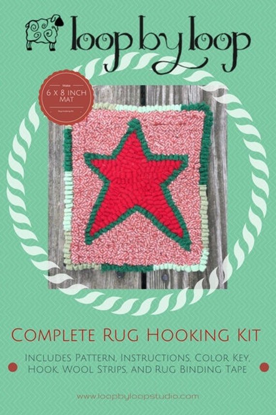 Christmas Star Complete Primitive Beginner Rug Hooking