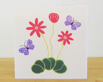 Dancing Butterflies Greetings Card, Purple Butterflies, Red Flowers, Recycled Card, Art Card