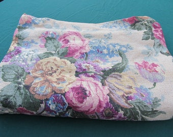 Antique Floral Pattern Nubby Barkcloth Drapery Remnant