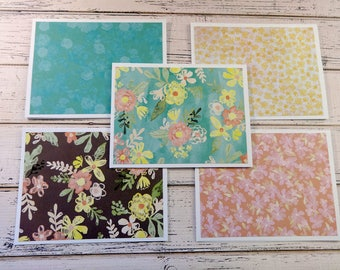 Blank Note Cards, Note Card Set, Blank Cards, Thank You Notes, Stationary, Set of 5 Note Cards with Matching Envelopes, Pastel Floral