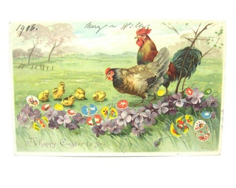 Easter Décor. Hold to Light Postcard. Colorful Spring Scene. Rooster Hen & Chicks. Illuminated Easter Eggs. Antique 1900s Paper Collectibles