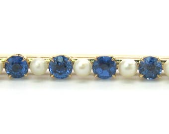 Sapphire Pearl Brooch. Victorian Solid 14K Gold Bar Pin. 6 Round Genuine Blue Gemstones. 7 Pearls. Antique Edwardian 1900s 1910s Jewelry