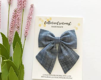 Oversized Sailor Bow - Sailor Bow Clip - Fabric Bow Clip - Big Sailor Bow - Girls Bow Clip -Hair Bow - Hair Accessories -Chambray Sailor Bow