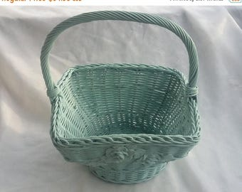 CHRISTMAS in JULY SALE Painted Vintage Handled Wicker Basket Decorative Container