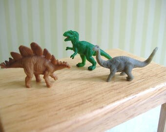 Dollhouse Miniature 3 Soft Rubber Dinosaurs - 1:12 Scale Of Barbie Scale