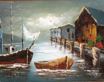 """Vintage Boats & Wharf Original Painting On Canvas Signed Lazarini,  Wood Frame 14 1/4"""" X 16 1/4"""" Total / 8"""" X 10"""" Canvas"""
