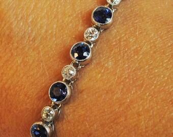 Fabulous Art Deco NO HEAT Sapphire and Diamond Platinum Bracelet