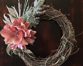 Winter Wreath in Blush Pink