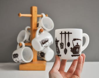 Set of Six Vintage Milk Kitchen Theme Mugs with Wooden Stand
