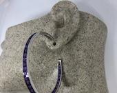 Vintage Handmade 925 Sterling Silver Purple Amethyst Deco 2 inch hoop Earrings