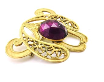 Antique Brooch Purple Stones, Brass Glass, Edwardian Brooch, Amethyst Filigree Pin, Edwardian Jewelry, Victorian Jewelry, Antique Jewelry