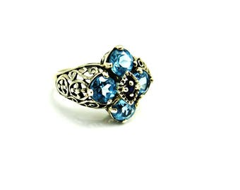 Vintage Silver Ring Blue Stones, Blue Topaz Ring, Art Deco Style Rings, Baby Blue, Size 6.5 Six and a Half