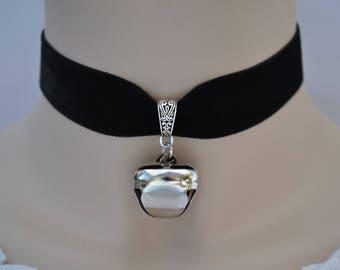 HUGE JINGLE BELL Black Velvet Choker, Wide 22mm Ribbon, 12 Colours