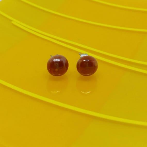 Iridescent Saffron Glass Stud Earrings